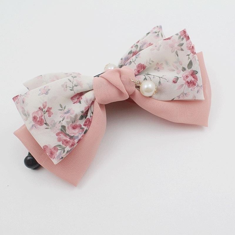 Hot Pink Ribbon Hair bow Concorde Hair Clip Hair Slide with Clear diamante stone