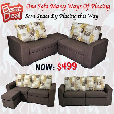 Qoo10 4 Seater Full Fabric Sofa Special Launching Price