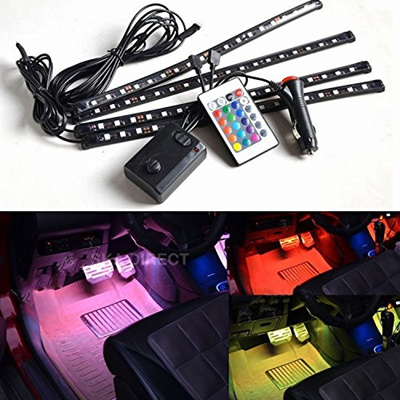 qoo10 4pc multi color 7 color led interior underdash lighting kit with sou automotive. Black Bedroom Furniture Sets. Home Design Ideas