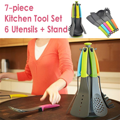 Qoo10 7 pieces kitchen tool set 6 utensils stand for Qoo10 kitchen set
