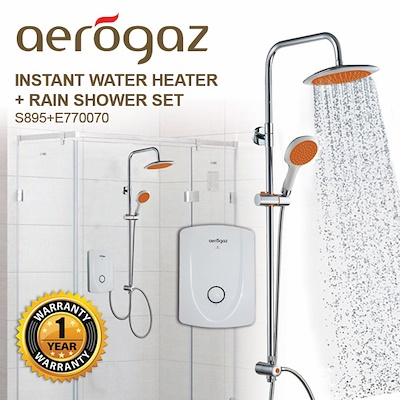 qoo10 aerogaz instant water heater rainshower set home electronics. Black Bedroom Furniture Sets. Home Design Ideas