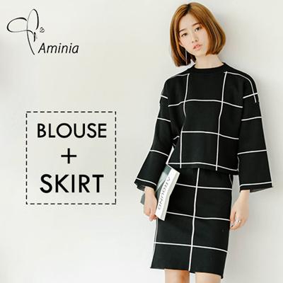 qoo10 unique design suit top skirt blouse