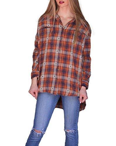 Qoo10 Angie Womens Plaid Hi Lo Flannel Shirt Orange
