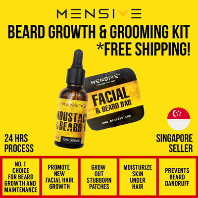 qoo10 beard growth and grooming kit free local postage cosmetics. Black Bedroom Furniture Sets. Home Design Ideas