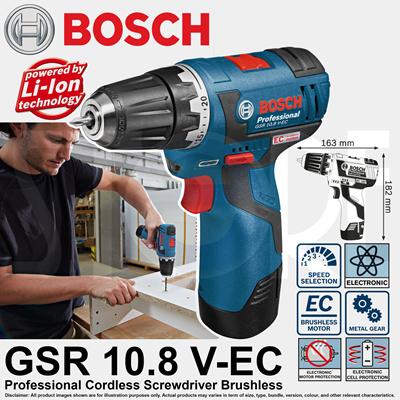 Bosch gsr 10 8 vec børsteløs drill