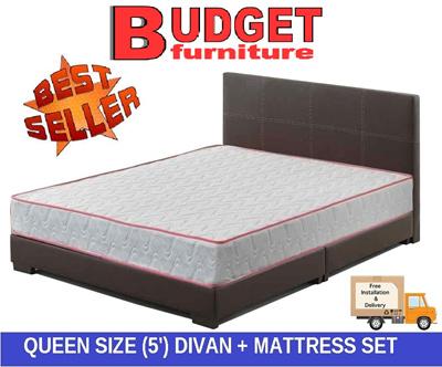 Qoo10 budget furniture bed set queen size divan with for Queen size divan