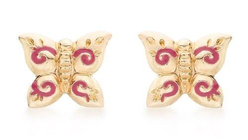 375 ECHT GOLD *** Ohrstecker Schmetterling rot 8,5 mm