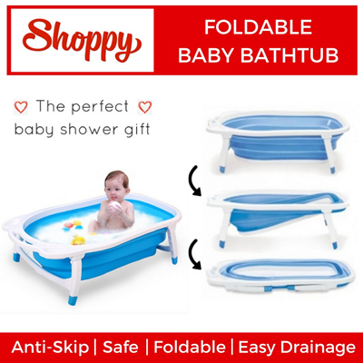 qoo10 collapsible foldable secure baby bath tub space saver baby shower baby maternity. Black Bedroom Furniture Sets. Home Design Ideas