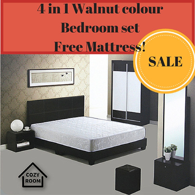 Qoo10 ★HOTTEST SALE★Walnut Colour Bedroom Set with Queen