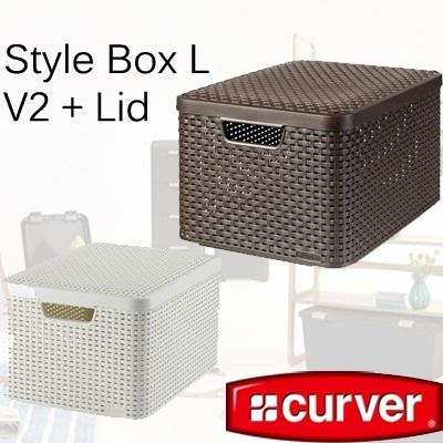 qoo10 curver style box in l v2 lid in dark brown white plastic storage box furniture deco. Black Bedroom Furniture Sets. Home Design Ideas