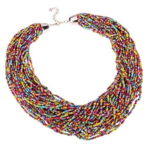 Trendige Damen Perlenkette Matt Rot Mehrfarbig Collierkette kurz 45 cm