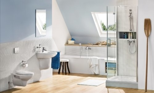 Design Wand Regal Holz Ablage weiss Flur Dekoration 4x Haken Zink verchromt