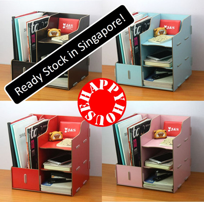 Qoo10 diy table organiser organizer book shelf office desk organiser a5 a4 m stationery - Desk stationery organiser ...