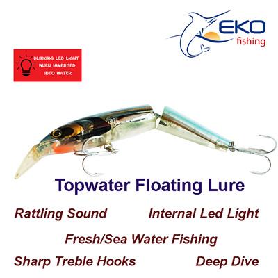 qoo10 - top water floating joint lure plug with blinking led light, Reel Combo
