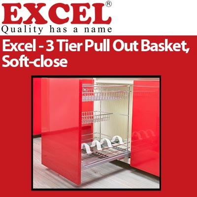 qoo excel  tier pull  basket soft close kitchen dining