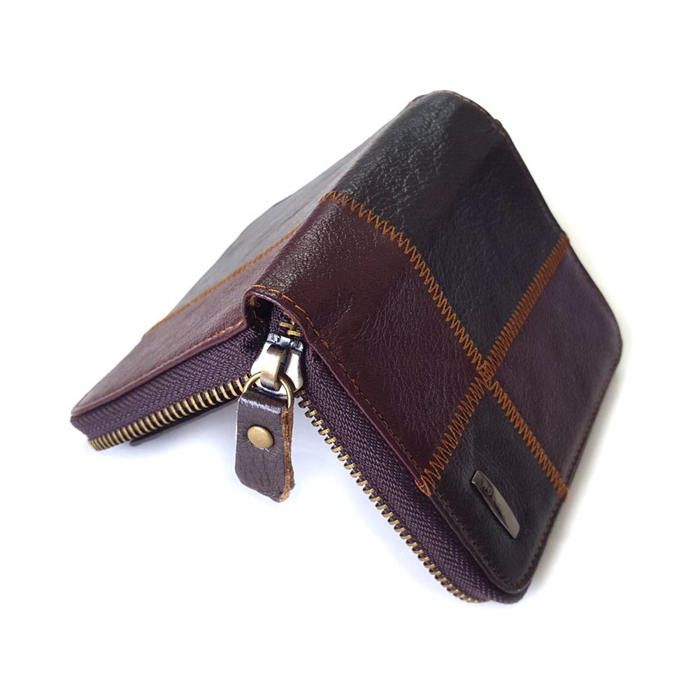 EoCot Mens Leather Wallet Purse ID Window Credit Card Clutch Holder Long Wallets CoffeeWallet
