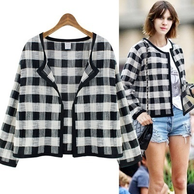 Qoo10 - ☆Free shipping☆ MARIE CHECK SHORT OPEN JACKET-RA1001 ...