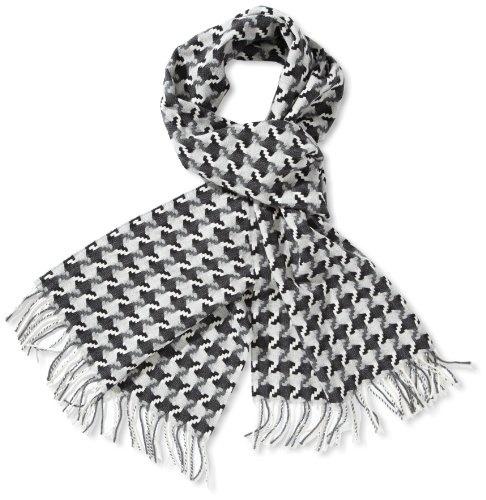 Beautiful Scarves Schal Schwarz weiß grau kariert 164 cm Geschenkbox premium