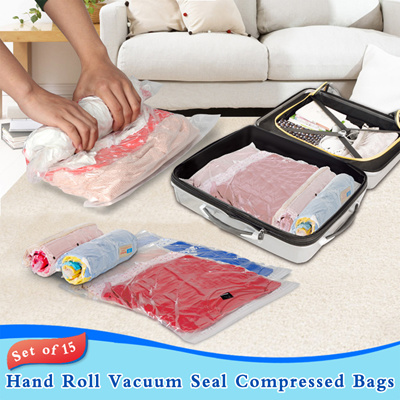 qoo10 free delivery set of 15 hand roll vacuum seal compressed bags gda g furniture deco. Black Bedroom Furniture Sets. Home Design Ideas