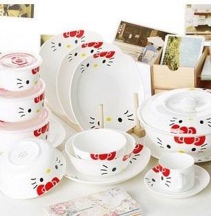 Qoo10 - Hello Kitty Ceramic Whole Set Family Dining Plates Bowls ...