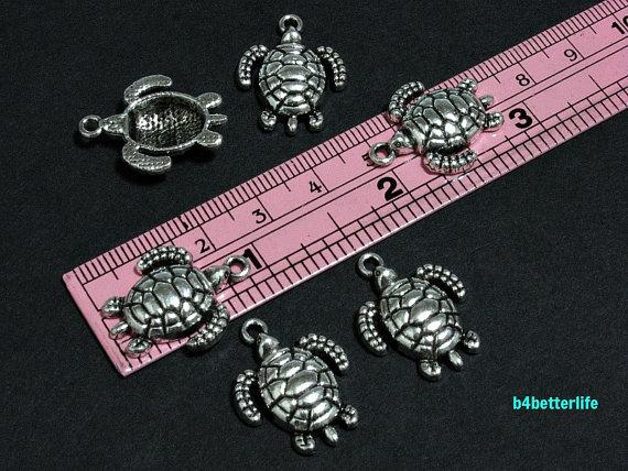 BC787 4 Turtle Charms Antique Bonze Tone