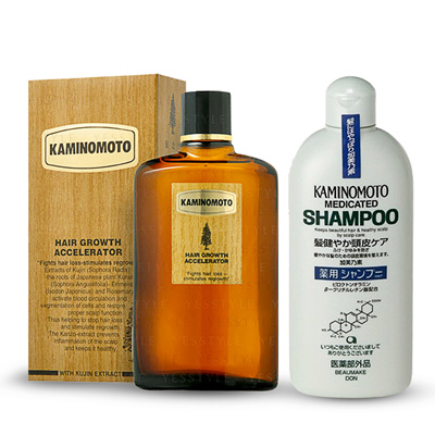 Kaminomoto shampoo medicated dan serum Kaminomoto Hair Growth Accelerator.