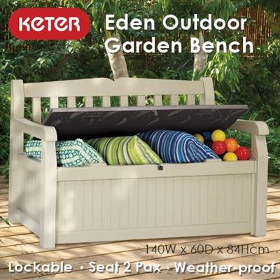 Keter  Outdoor Eden Garden Bench  140x60x84Hcm    Storage   Box    Waterproof. Qoo10    Keter  Outdoor Eden Garden Bench  140x60x84Hcm    Storage