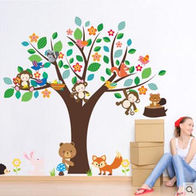 little animal small tree wall stickers 幼儿园卡通可爱小动物大树