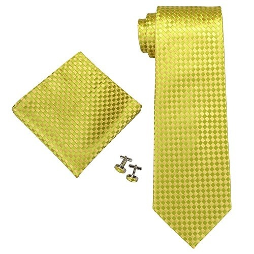 Gray Plaids Checks Silk USA Mens Classic Necktie With Pocket Square And Cufflinks Business Set Irvint /& Co Green