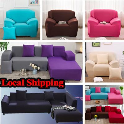 Local Shipping Universal Sofa Cover Sofa Cushion Cover Plain Color Sofa Bed  Protector Elastic
