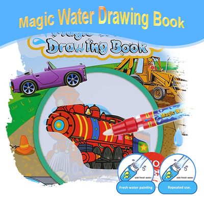 Non Toxic Magic Water Drawing Book Coloring Doodle With Pen Vehicle Series Painting