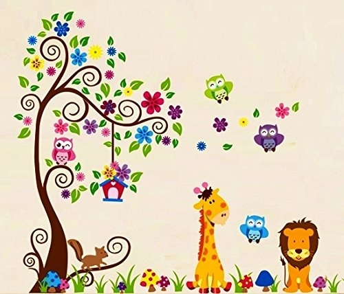 African Safari Themed Wall Sticker Jungle Animal Tree Mural Home Room Decor GP3