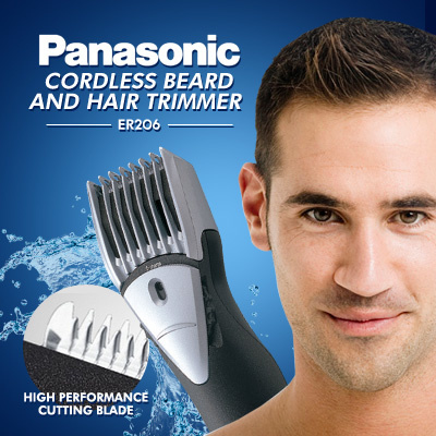 qoo10 panasonic beard and hair trimmer cordless er206. Black Bedroom Furniture Sets. Home Design Ideas