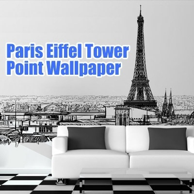 Qoo10 paris eiffel tower point wallpaper mural design for Eiffel tower wallpaper mural