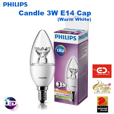 qoo10 philips led candle light bulb 3w e14 cap warm. Black Bedroom Furniture Sets. Home Design Ideas