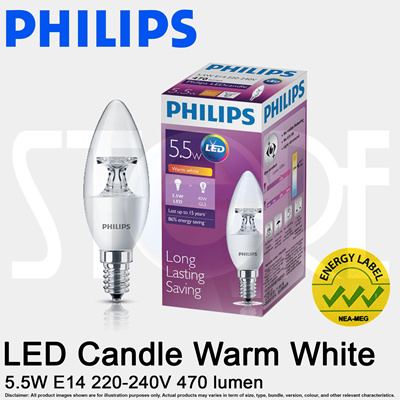 qoo10 philips led candle light bulb 5 5w warm daylight. Black Bedroom Furniture Sets. Home Design Ideas