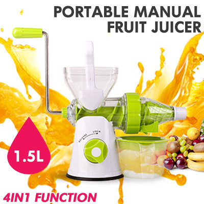 Qoo10 - PORTABLE MANUAL SLOW FRUIT JUICER / 4 IN 1 FUNCTION / 1.5L CAPACITY / ... : Home Electronics