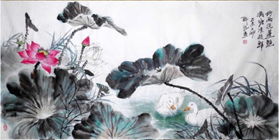 with duck/68x136cm/only the painting/3pcs only四尺纯手绘国画莲花图片