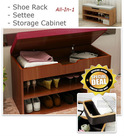 qoo10 shoe rack with cushioned settee and storage pull up settee built in furniture deco. Black Bedroom Furniture Sets. Home Design Ideas