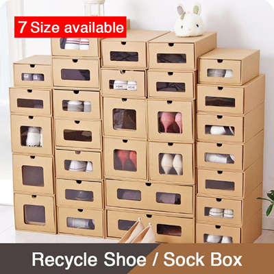 Qoo10 recycle shoe sock box shoe rack shoe box for Reuse shoe box ideas