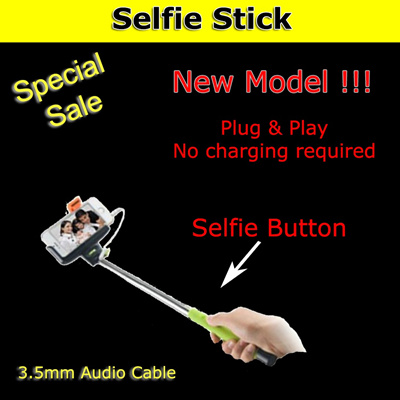 qoo10 selfie stick monopod cable take pole with built in remote shutter mobile devices. Black Bedroom Furniture Sets. Home Design Ideas