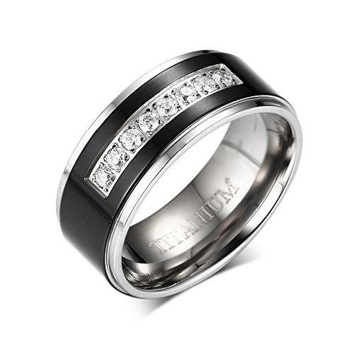 8mm Laser Etched Greek Key Pattern Black IP Plated Brushed and Polished Finish Designer Titanium Contemporary Wedding Band