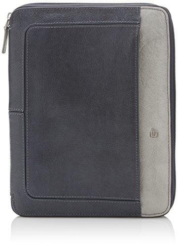 PIQUADRO Blue Square Slim Wallet horizontalement Portefeuille Mogano Marron Bleu Nouveau