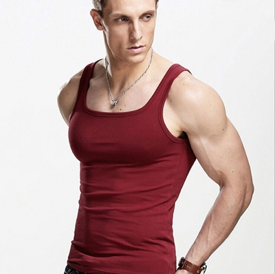 Qoo10 superman gym singlets mens square collar tank tops for Singlet shirt for mens