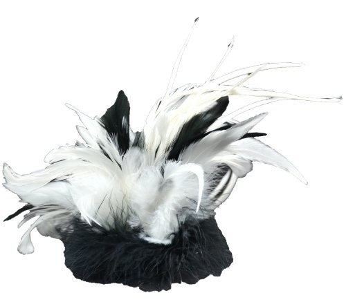 Silver White Grey Peacock Feather Fascinator Hair Clip Headpiece Vintage 20s 542