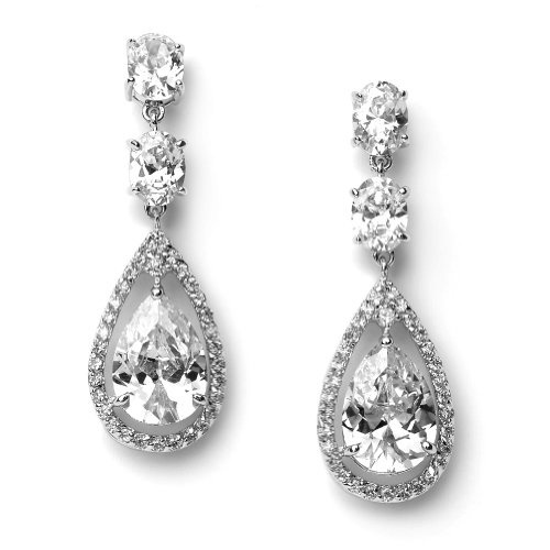 Beydodo Wedding Earring Chandelier Wedding Earrings Cubic Zirconia Teardrop Pear Cut White Cubic Zirconia