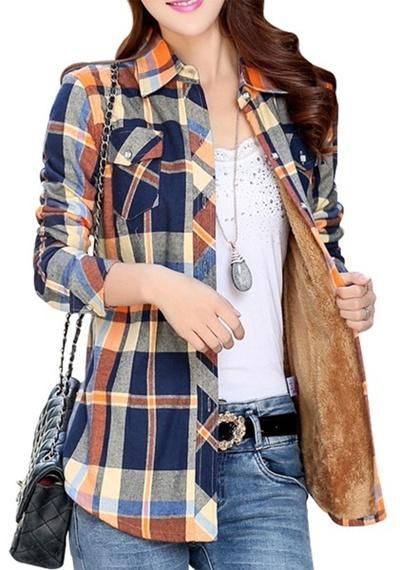 Qoo10 womens winter heavy plaid cotton fleece lined for Heavy plaid flannel shirt