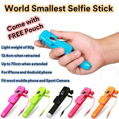 qoo10 world smallest selfie stick no battery no bluetooth monopod wired sel. Black Bedroom Furniture Sets. Home Design Ideas