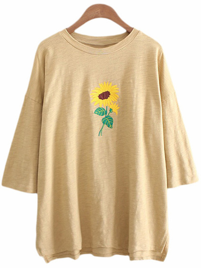 Qoo yellow dip hem sunflower embroidery t shirt