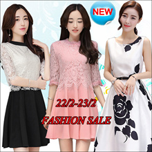 【22/2】Korean dress/Long sleeve Sleeveless Short sleeve dresses/Occupation/Casual/chiffon/lace/suit